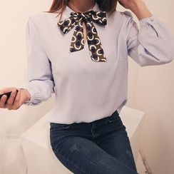 DABAGIRL - Inset Scarf Puff-Sleeve Top
