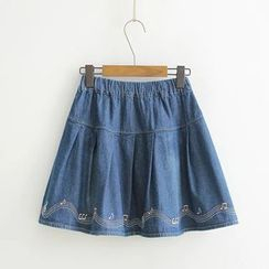 Aigan - Embroidery A-Line Denim Skirt