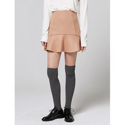 FROMBEGINNING - Ruffle-Hem Wool Blend Mini Skirt