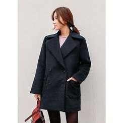 J-ANN - Wool Blend Double-Breasted Coat