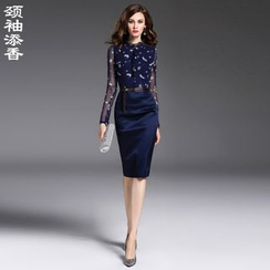 la nuit - Long-Sleeve Print Sheath Dress