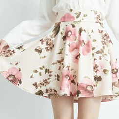 BAIMOMO - Floral Print Mini Skirt