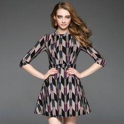 Ozipan - Elbow-Sleeve Printed A-Line Dress