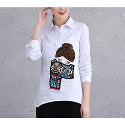 Brightful - Applique Half-Placket Long-Sleeve Shirt