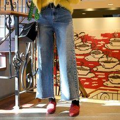 DABAGIRL - Fray-Hem Washed Wide-Leg Jeans