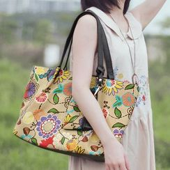 SUPER LOVER - Floral Canvas Tote
