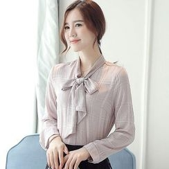 lilygirl - Long-Sleeve Tie Neck Shirt
