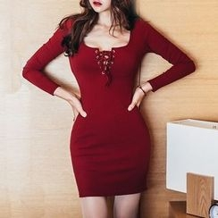 Aurora - Lace-Up Knit Dress