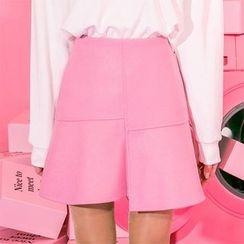 icecream12 - Asymmetric-Hem A-Line Mini Skirt