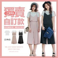 PUFII - Set: Plain Tee + Tank Top + Wide Leg Pants