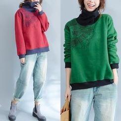 Epoch - Printed Contrast Trim Turtleneck Pullover