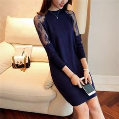 Shomez - Lace Panel Knit Dress