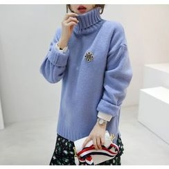 Miamasvin - Turtle-Neck Wool Blend Knit Top
