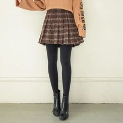 Seoul Fashion - Patterned Wool Blend Mini Pleated Skirt