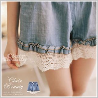 Clair Fashion - Elastic-Waist Crochet-Hem Denim Shorts