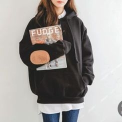 JUSTONE - Hooded Elbow-Patch Oversized Pullover