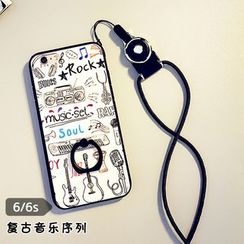 Cartoon Face - Printed Mobile Ring Case with Neck Strap - iPhone 6 / 6 Plus