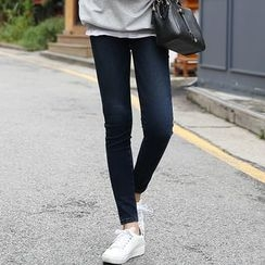 Seoul Fashion - Band-Waist Skinny Pants