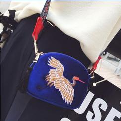 Rosanna Bags - Crane Embroidered Velvet Crossbody Bag