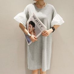 NANING9 - Ruff-Sleeve Pullover Dress