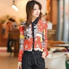 Flower Creek - Printed Chiffon Blouse