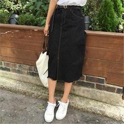 QNIGIRLS - Fray-Hem Slit-Front Denim Skirt
