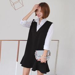 Seoul Fashion - Inset Shirt Ruffle-Hem Dress