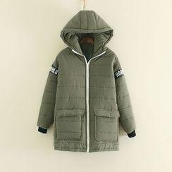 Mushi - Letter Applique Padded Hooded Coat