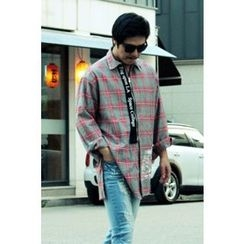Ohkkage - Contrast-Trim Long-Sleeve Check Shirt