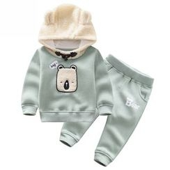 Endymion - Kids Set: Bear Applique Hoodie + Jogger Pants
