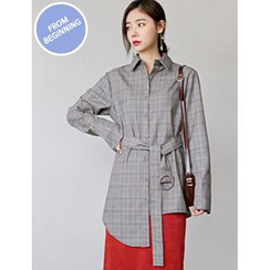 FROMBEGINNING - Asymmetric-Hem Check Shirt with Belt