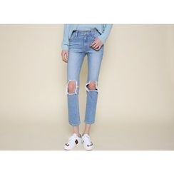 Envy Look - Cutout-Knee Washed Straight-Cut Jeans