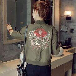 Munai - Embroidered Zip Baseball Jacket