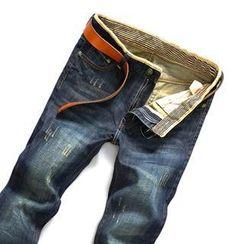 蓝派 - 做旧水洗牛仔裤