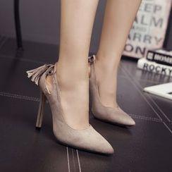 Monde - 吊苏尖头高跟鞋