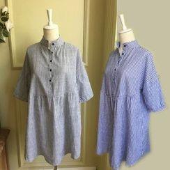 Rosadame - 條紋中袖連衣裙