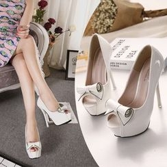 Monde - Bow Peep Toe Platform Stilettos
