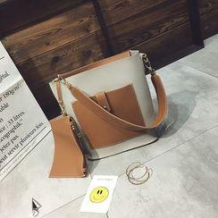 Diamante - Set of 2: Two-Tone Shoulder Bag + Coin Purse