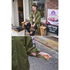 migunstyle - Button-Detail Long Safari Jacket
