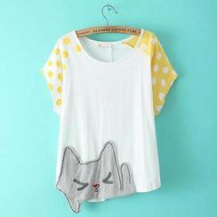 JVL - Dotted Short-Sleeve Cat-Appliqué T-Shirt