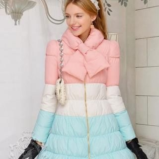 Dabuwawa - Tie-Neck Color-Block Down-Padded Coat