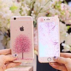Sea Girl - Sakura Tree Printed iPhone 6 / 6S / 6 Plus / 6S Plus Case With Protective Film