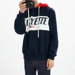 Seoul Homme - Hooded Star and Stripe Print Pullover