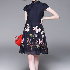 Alaroo - Floral Print Mandarin Collar Short Sleeve A-Line Dress
