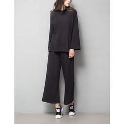 GUMZZI - Set: Drop-Shoulder Pullover + Elastic-Waist Pants