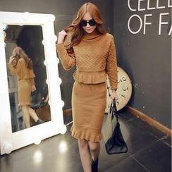 Sisi Fashion - Set: Turtleneck Embossed Sweater + Knit Skirt