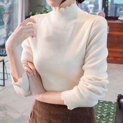 mimi&didi - Scallop-Edge Wool Blend Knit Top