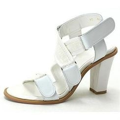 MODELSIS - Velcro-Strap Genuine Leather Sandals