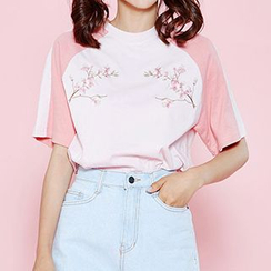 icecream12 - Raglan-Sleeve Embroidered T-Shirt