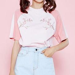icecream12 - Raglan-Sleeve Embroidered T-Shirt